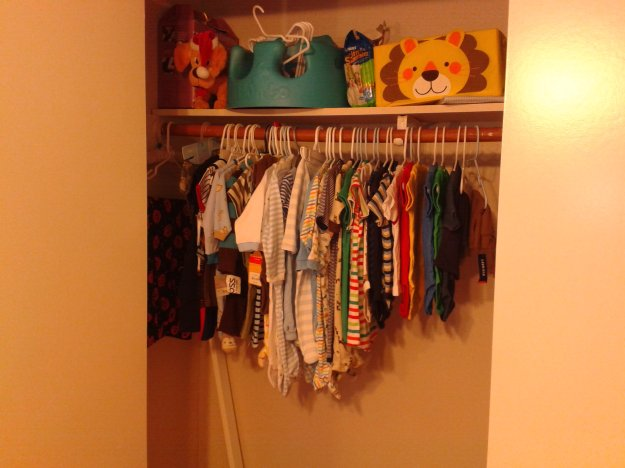 Baby clothes in wardrobe